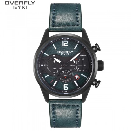 FASHION MEN WATCH OVERFLY EYKI E3140L-DZ4HBM, TEAL GREEN CASE, BLACK & TEAL GREEN DIAL, TEAL GREEN LEATHER