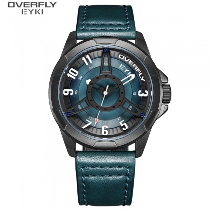 FASHION MEN WATCH OVERFLY EYKI E3139L-DZ1HBM, TEAL GREEN CASE, BLACK & TEAL GREEN DIAL, TEAL GREEN LEATHER