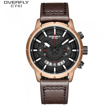 FASHION MEN WATCH OVERFLY EYKI  E3118L-DZ4CCH, ROSEGOLD CASE, BLACK DIAL, BROWN LEATHER STRAP