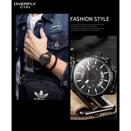 FASHION MEN WATCH OVERFLY EYKI  E3118L-DZ4HHA, BLACK CASE, BLACK DIAL, BLACK LEATHER STRAP