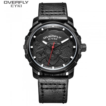 FASHION MEN WATCH OVERFLY EYKI E3136L-DZ1HHH, BLACK CASE, BLACK DIAL, BLACK LEATHER