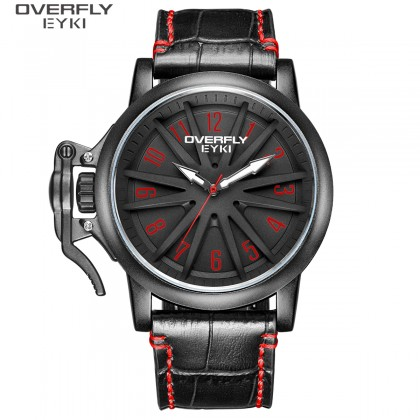 FASHION MEN WATCH OVERFLY EYKI  E3129L-DZ1HAA, , BLACK CASE, BLACK & RED DIAL, BLACK LEATHER STRAP